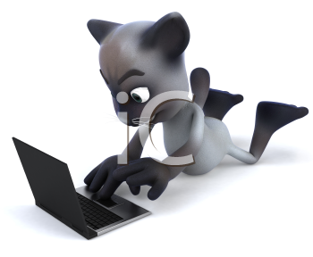 Royalty Free 3d Clipart Image of a Cat Laying on the Floor With a Laptop Computer