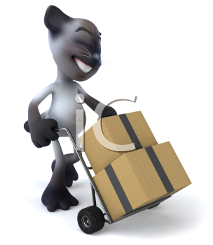 Royalty Free 3d Clipart Image of a Cat Pushing a Dolly Cart With Cartons