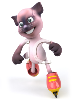 Royalty Free Clipart Image of Pink Cat on Roller Blades