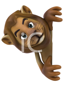 Royalty Free 3d Clipart Image of a Lion Holding a Sign Board