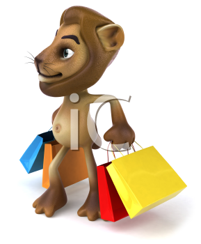 Royalty Free 3d Clipart Image of a Lion Carrying Shopping Bags