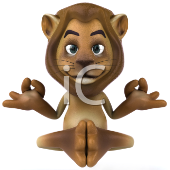 Royalty Free 3d Clipart Image of a Lion Meditating