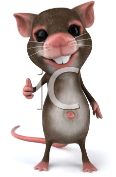 Royalty Free 3d Clipart Image of a Mouse Giving a Thumbs Up Sign