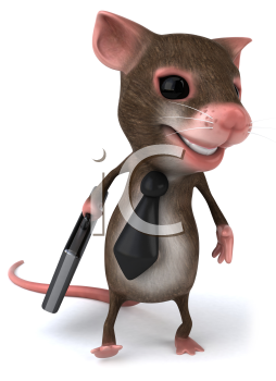 Royalty Free Clipart Image of a Mouse Wearing a Tie and Carrying a Briefcase
