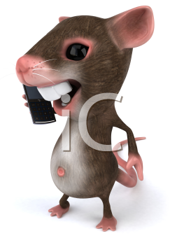 Royalty Free Clipart Image of a Mouse Talking on a Cellphone