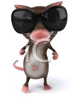 Royalty Free 3d Clipart Image of a Mouse Wearing Sunglasses