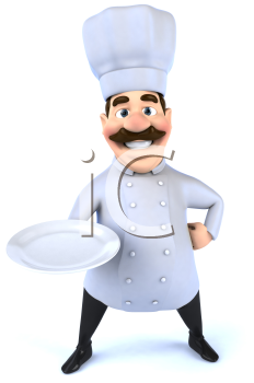 Royalty Free 3d Clipart Image of a Chef Holding a Plate