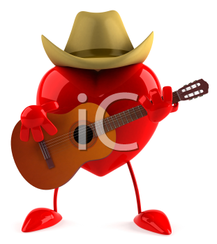 Royalty Free Clipart Image of a Heart Playing Country and Western Music on a Guitar