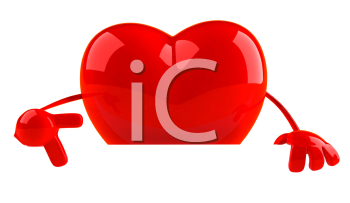 Royalty Free 3d Clipart Image of a Heart Pointing to a Sign Board