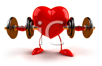 Royalty Free 3d Clipart Image of a Heart Lifting Dumbbells