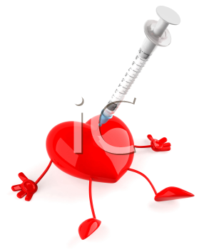 Royalty Free Clipart Image of a Heart Getting a Needle