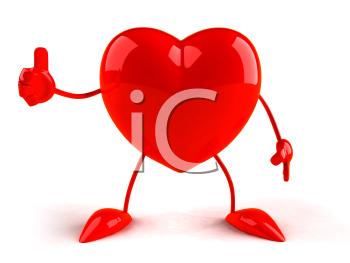 Royalty Free 3d Clipart Image of a Heart Giving a Thumbs Up Sign