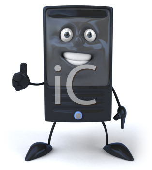Royalty Free 3d Clipart Image of a Computer Giving a Thumbs Up Sign