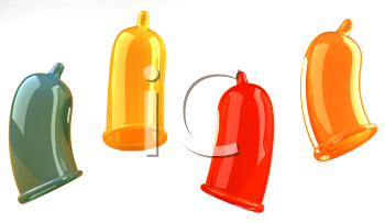 Royalty Free 3d Clipart Image of Colorful Condoms