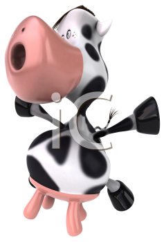 Royalty Free Clipart Image of a Cow Jumping