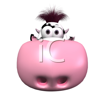 Royalty Free 3d Clipart Image of a Cow