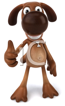 Royalty Free 3d Clipart Image of a Dog Giving a Thumbs Up Sign