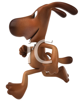 Royalty Free 3d Clipart Image of a Dog Running