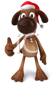 Royalty Free 3d Clipart Image of a Dog Wearing a Santa Hat and Giving a Thumbs Up Sign