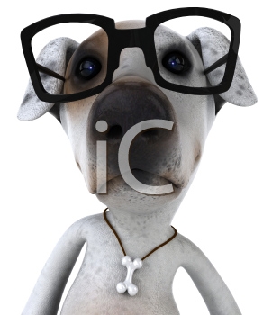 Royalty Free 3d Clipart Image of a Jack Russell Terrier Dog Wearing Black Rimmed Glasses