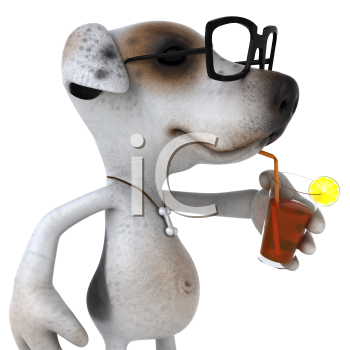 Royalty Free 3d Clipart Image of a Jack Russell Terrier Dog Wearing Black Rimmed Glasses and Sipping a Beverage