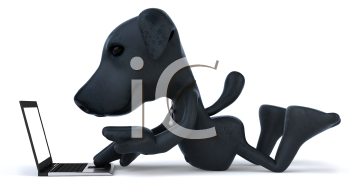 Royalty Free 3d Clipart Image of a Black Dog Laying in Front of a Laptop Computer