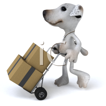 Royalty Free 3d Clipart Image of a Jack Russell Terrier Dog Pushing a Dolly Cart With Boxes