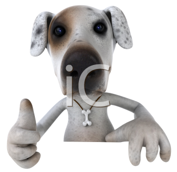 Royalty Free 3d Clipart Image of a Jack Russell Terrier Dog Giving a Thumbs Up Sign Holding a Sign Board