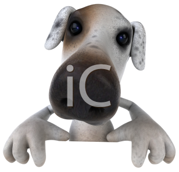 Royalty Free 3d Clipart Image of a Jack Russell Terrier Dog Holding a Sign Board