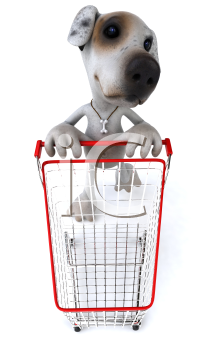 Royalty Free 3d Clipart Image of a Jack Russell Terrier Dog Pushing a Shopping Cart