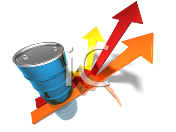 Royalty Free 3d Clipart Image of an Oil Barrel With Arrows Pointing Upwards