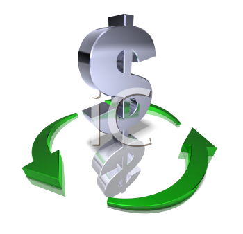 Royalty Free 3d Clipart Image of a Dollar Sign Surrounded by Green Arrows