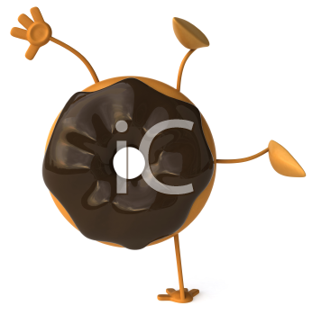Royalty Free Clipart Image of a Doughnut Doing a Handstand
