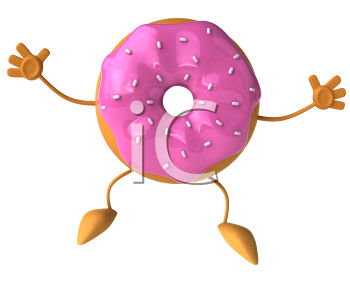 Royalty Free Clipart Image of a Doughnut With Pink Icing and Sprinkles Jumping