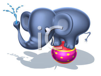 Royalty Free 3d Clipart Image of an Elephant Standing on a Circus Ball