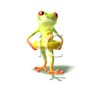Royalty Free 3d Clipart Image of a Frog Wearing a Ducky Flotation Device