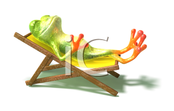 Royalty Free 3d Clipart Image of a Frog Laying in a Lounge Chair