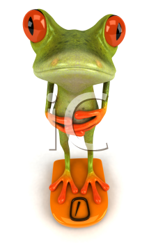 Royalty Free Clipart Image of a Frog Standing on Bathroom Scales