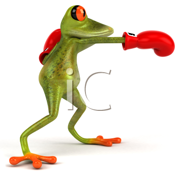 Royalty Free Clipart Image of a Boxing Frog