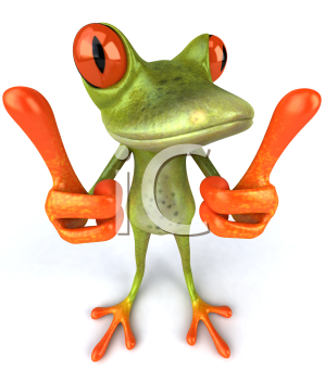 Royalty Free 3d Clipart Image of a Frog Giving Two Thumbs Up Signs