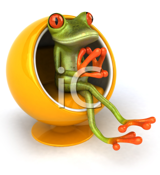 Royalty Free 3d Clipart Image of a Frog Sitting in a Bubble Chair