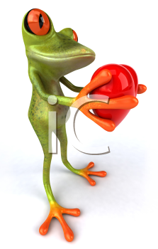 Royalty Free 3d Clipart Image of a Frog Holding a Heart