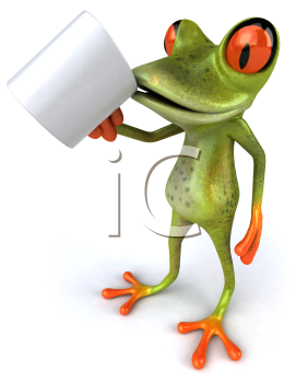Royalty Free 3d Clipart Image of a Frog Drinking From a Coffee Mug