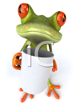Royalty Free 3d Clipart Image of a Frog Holding a Coffee Mug