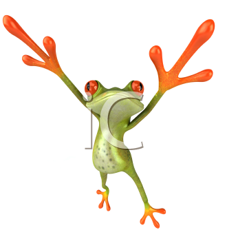 Royalty Free 3d Clipart Image of a Frog Jumping in the Air