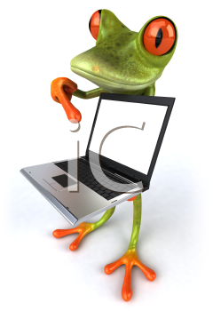 Royalty Free 3d Clipart Image of a Frog Pointing to a Laptop Computer