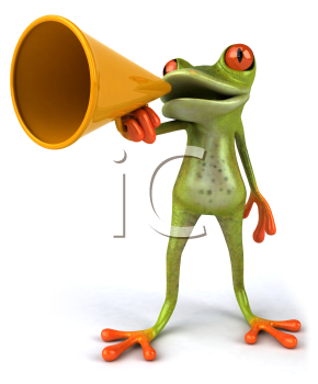 Royalty Free 3d Clipart Image of a Frog Speaking into a Megaphone