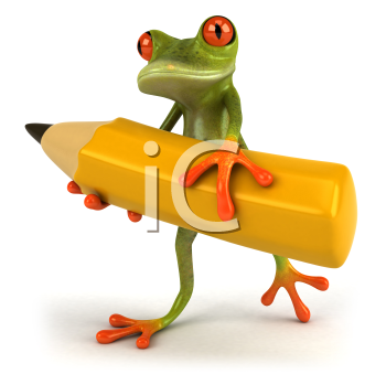 Royalty Free Clipart Image of a Frog Carrying a Lead Pencil