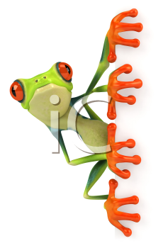 Royalty Free 3d Clipart Image of a Frog Holding a Blank Sign