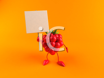 Royalty Free 3d Clipart Image of a Raspberry Holding a Blank Sign